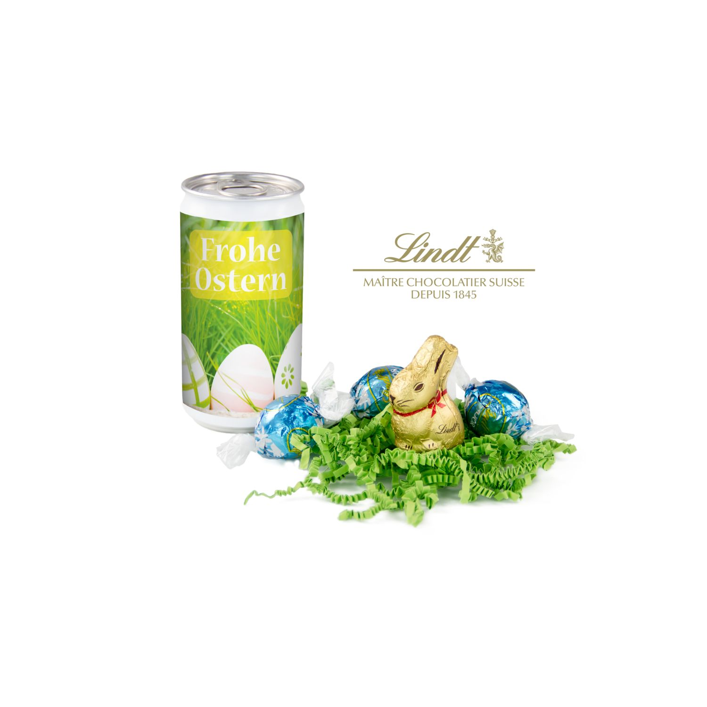 Geschenkartikel / Präsentartikel: Lindt-Oster-Überraschung, Das Nest in der Dose - Etikett Frohe Ostern - EierWiese