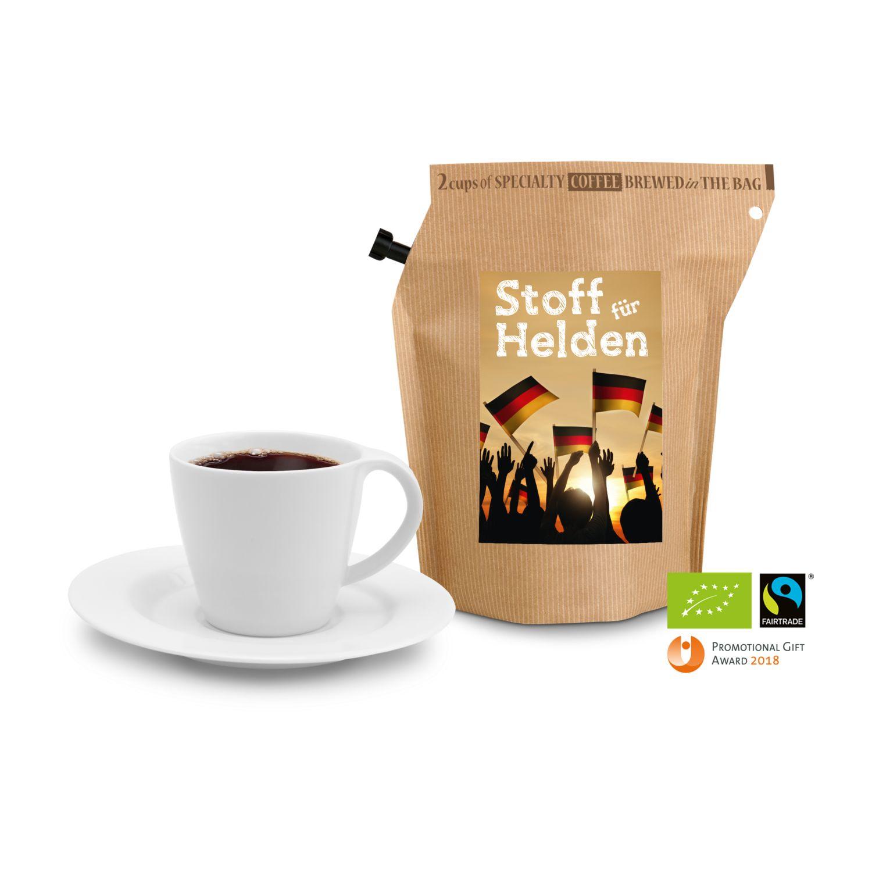 Geschenkartikel / Präsentartikel: Bio Deutschland FAN-Kaffee, wiederverwendbarer Brühbeutel