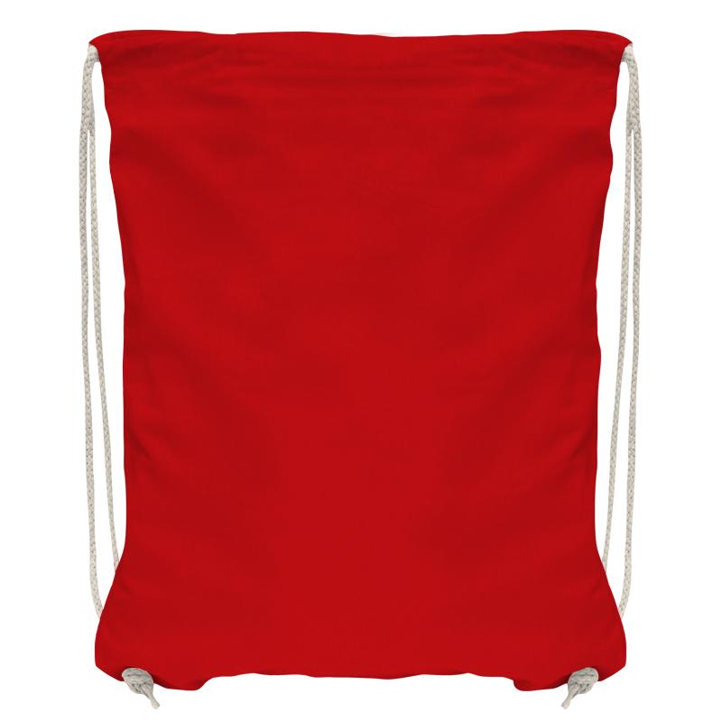 Baumwollrucksack mit robuster Kordel - rot/natur - 36 cm x 44 cm