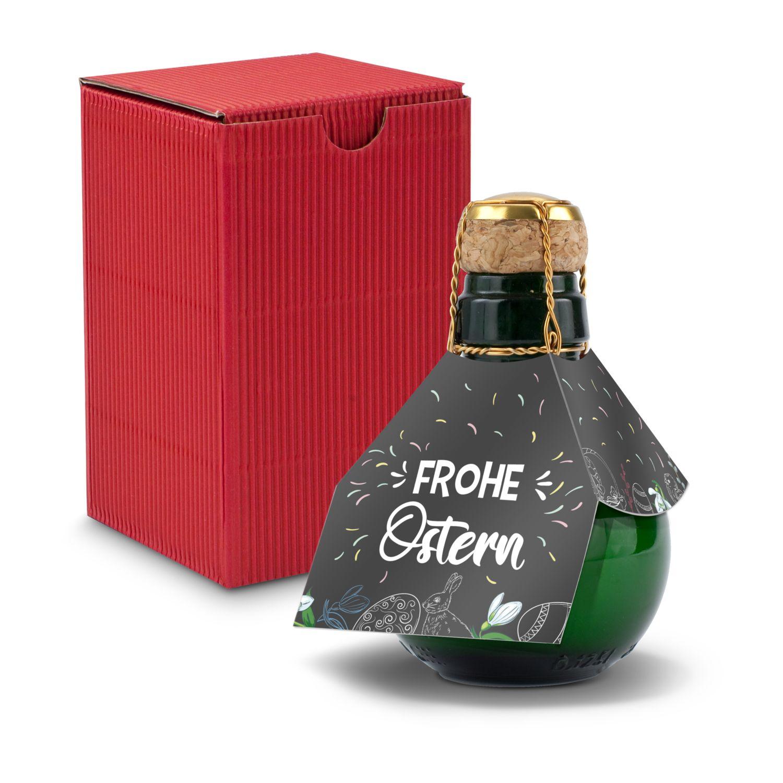 Kleinste Sektflasche der Welt! Frohe Ostern - Inklusive Geschenkkarton in Rot, 125 ml