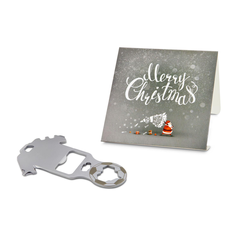 Geschenkartikel / Präsentartikel: ROMINOX® Key Tool Football / Fußball (18 Funktionen) im Motiv-Mäppchen Merry Christmas