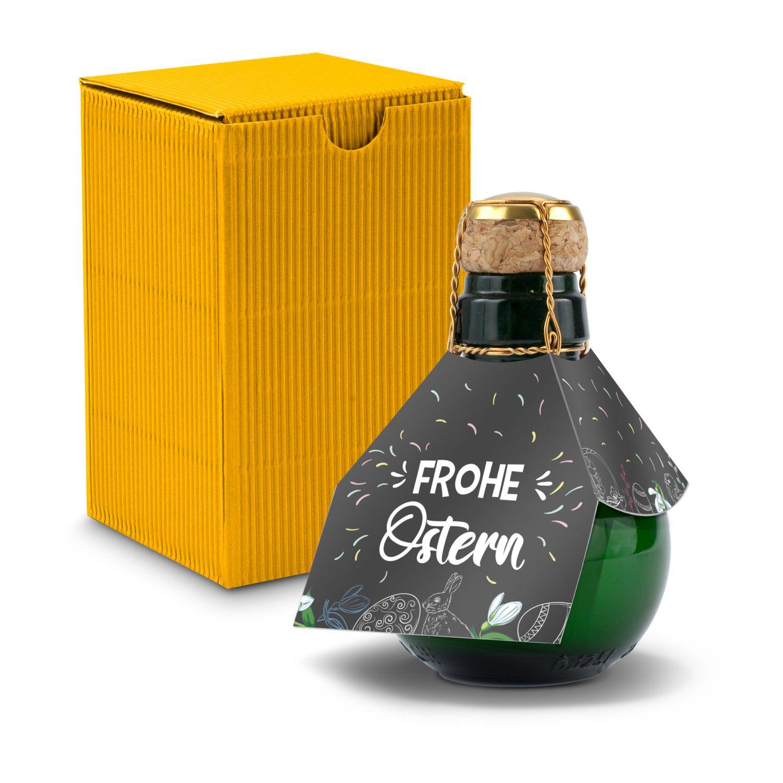 Kleinste Sektflasche der Welt! Frohe Ostern - Inklusive Geschenkkarton in Gelb, 125 ml