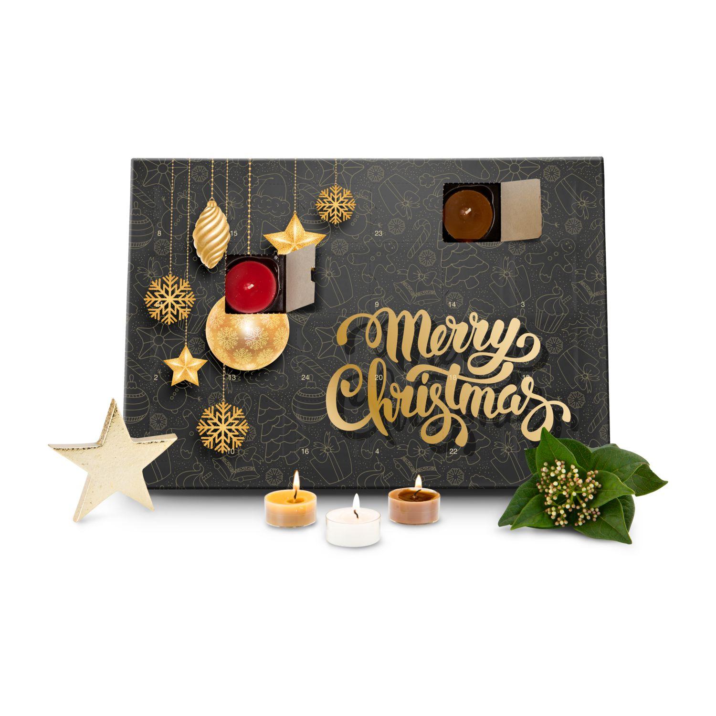 Duftkerzen Adventskalender Merry Christmas mit 24 verschiedenen Teelicht-Duftkerzen