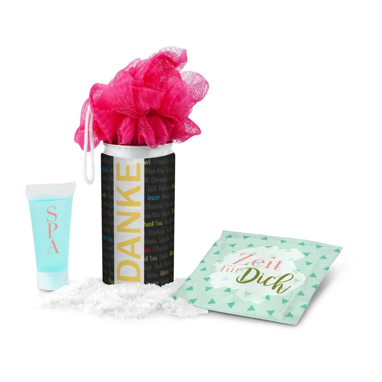 Geschenkset / Präsenteset: SPA Dose, Wellness-Geschenk in der Dose - Etikett Danke