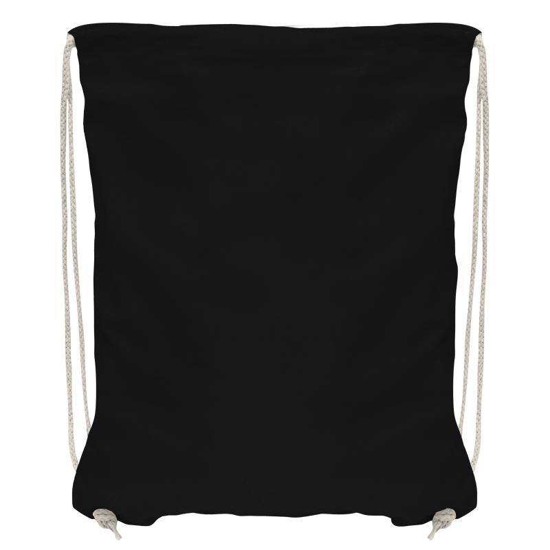 Baumwollrucksack mit robuster Kordel - schwarz/natur - 36 cm x 44 cm