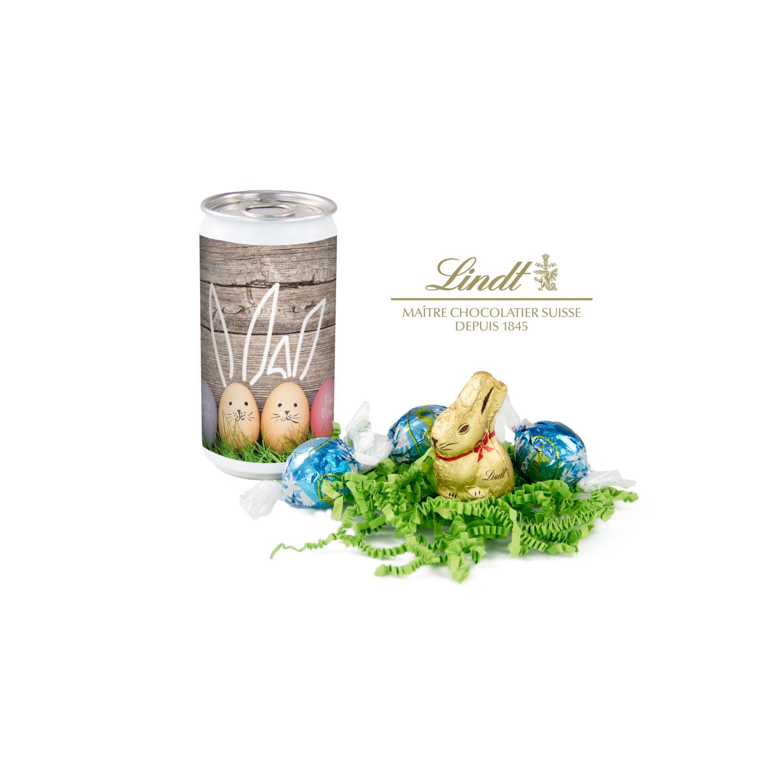 Geschenkartikel / Präsentartikel: Lindt-Oster-Überraschung, Das Nest in der Dose - Etikett Frohe Ostern - EierHasen