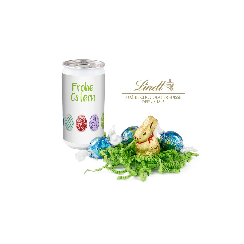 Geschenkartikel / Präsentartikel: Lindt-Oster-Überraschung, Das Nest in der Dose - Etikett Frohe Ostern - EierReihe