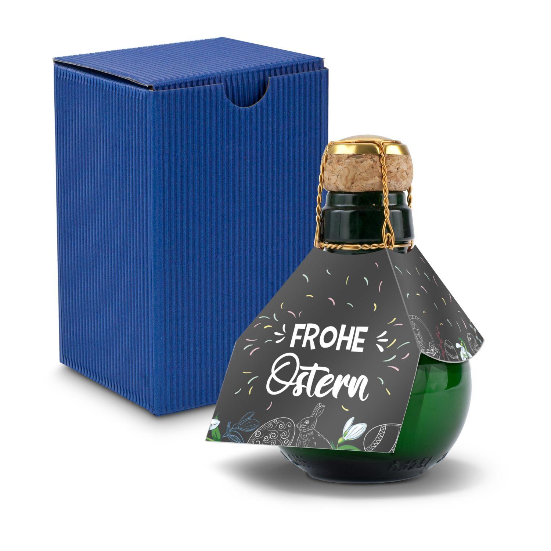 Kleinste Sektflasche der Welt! Frohe Ostern - Inklusive Geschenkkarton in Blau, 125 ml