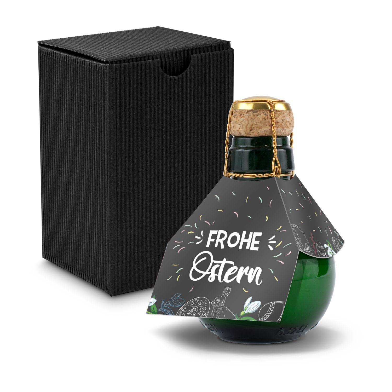 Kleinste Sektflasche der Welt! Frohe Ostern - Inklusive Geschenkkarton in Schwarz, 125 ml