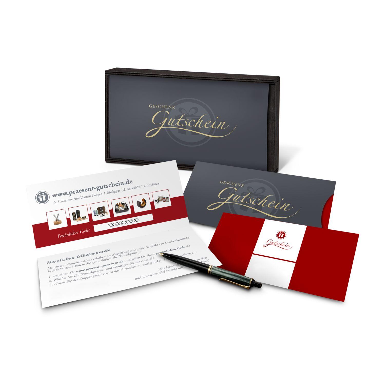 Geschenkgutschein Rot in Holzkiste, große Auswahl an Präsenten, Lifestyle- und Wellnessprodukten, Kategorie 10 €