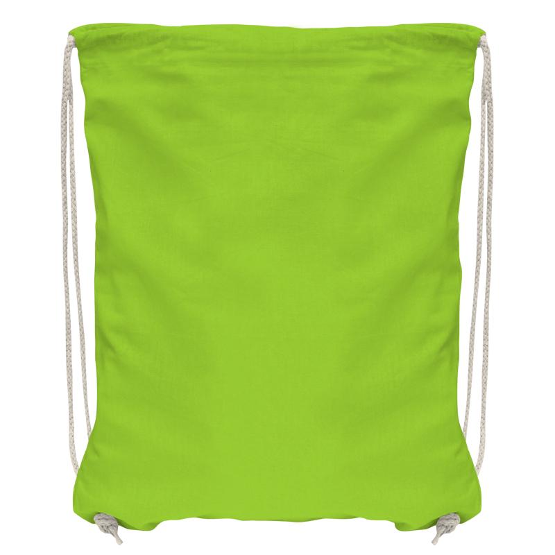 Baumwollrucksack mit robuster Kordel - maigrün/natur - 36 cm x 44 cm